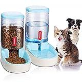 UniqueFit Pets Gatos Perros Riego automático y alimentador de Alimentos 3.8 L con 1 * dispensador de Agua y 1 * alimentador automático para Mascotas (Blue)