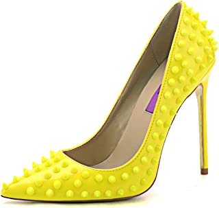 yellow studded pumps