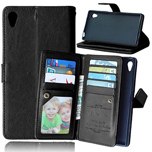 FUBAODA für Sony Xperia Z5 Tasche Schwarz, Leder Hülle, Flip Leder Money Karte Slot Brieftasche, Pretty, Kartenfächer Ständerfunktion Hülle für Sony Xperia Z5 (E6003 E6633 E6653 E6683) (schwarz)