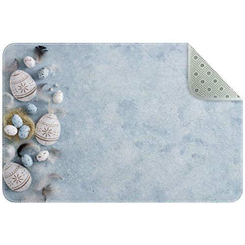 Tappetino multiuso per interni ed esterni, tappetino per ingresso, casa, palestra, garage, sottolavello e patio uova di Pasqua blu