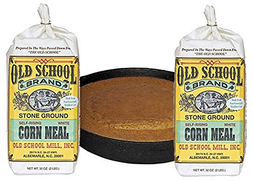 Authentic Old School Brand Stone Ground, Self-Rising, White Cornmeal (2 Pound Bags) - Made with NON-GMO Select North Carolina White Corn - Pack of 2