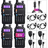 TIDRADIO F6 Tri Power Ham Radio Dual Band Walkie Talkie with One More 1800mAh Battery Mic and Driver Free Programming Cable (4 Pack)