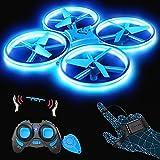 SP300 Drohne mit Blaue LED, RC Quadrocopter mit 3 Fernbedienungen, 2 Akkus für 14 Minuten, Throw'N Go, Automatische Ausweichfunktion, Spielzeug Drohne für Anfänger und Kinder
