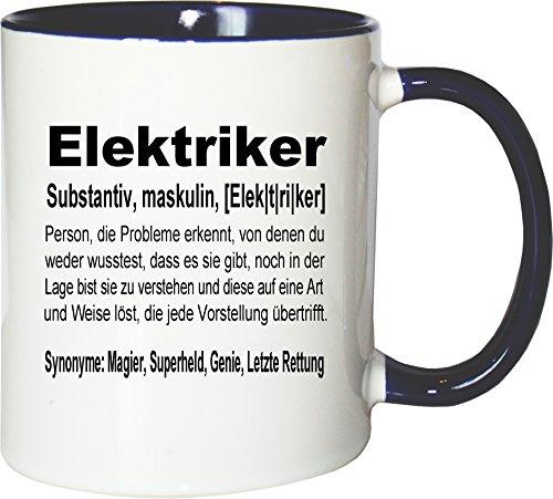 Mister Merchandise Kaffeebecher Tasse Elektriker Definition Geschenk Gag Job Beruf Arbeit Witzig Spruch Teetasse Becher Weiß-Blau