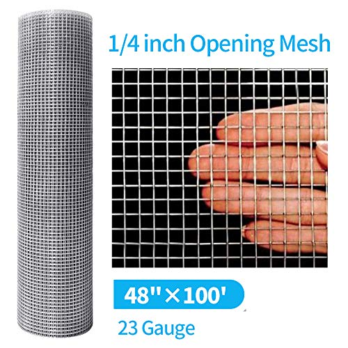 Amagabeli 48 x 100 Hardware Cloth 1/4 Inch 23 gauge Galvanized After Welding Fence Mesh Roll Garden Plant Supports Poultry Netting Square Chicken Wire Snake Fencing Gopher Racoons Rabbit Pen Gutter