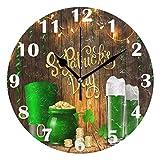 FETEAM Día de San Patricio Sombrero de Elfo Cerveza Reloj de Pared Primavera silenciosa Relojes de Monedas de Oro Reloj de Escritorio Vintage con Pilas Reloj de Cuarzo de 10 Pulgadas