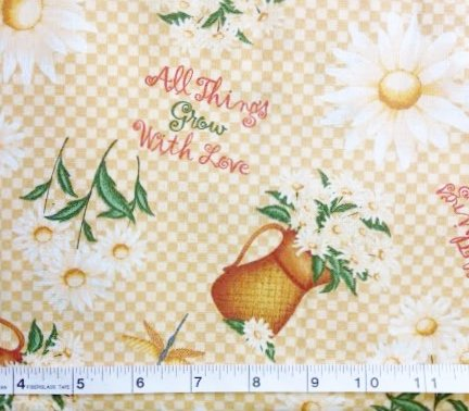 """1/2 Yard - """"All Things Grow with Love"""" Flower Gardening 100% Cotton Fabric - Officially Licensed (Great for Quilting, Sewing, Craft Projects, Throw Pillows & More) 1/2 Yard X 44"""" Wide"""