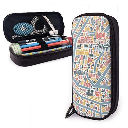 Amsterdamer Stadtplan Bleistiftetui-Halter Großformatiger Bleistiftbeutel Schreibwaren-Organizer mit Reißverschluss für das Schulbüro, Multifunktions-Kosmetik-Make-up-Tasche
