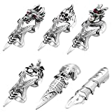 6 Pieces Punk Gothic Knuckle Joint Full Finger Double Rings Silvery Armour Rings Rock Hinged Loop Activity Rings for Men