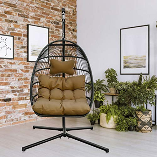 Outdoor Egg Chair Foldable Hanging Swing Chair with Stand, Rattan Wicker Hanging Egg Chair Hammock Chair with Cushion and Pillow for Indoor Outdoor Bedroom Patio Garden