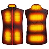 Women's Heated Vest lightweight 8pcs Warming Electric Heating Pads 3 Temps Setting Warmer Up Instantly in Hunting/Camping/ Fishing/ Hiking Outdoor in Cold Winter USB Rechargeable Hot Washable Jacket (Batteries not included)