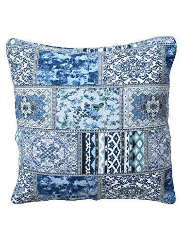 heine home 2 Stück Quilt Kissenhüllen Dekokissen Patchwork blau ca. 40x40 cm