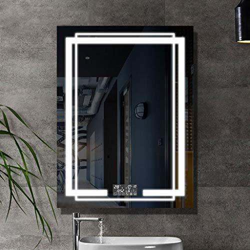 Espejo de Baño Espejo Maquillaje Espejo Baño Cuarto de baño iluminado LED gran espejo Espejo rectangular con sensor de ratón Espejo antivaho del interruptor de Bluetooth en dos colores con luz