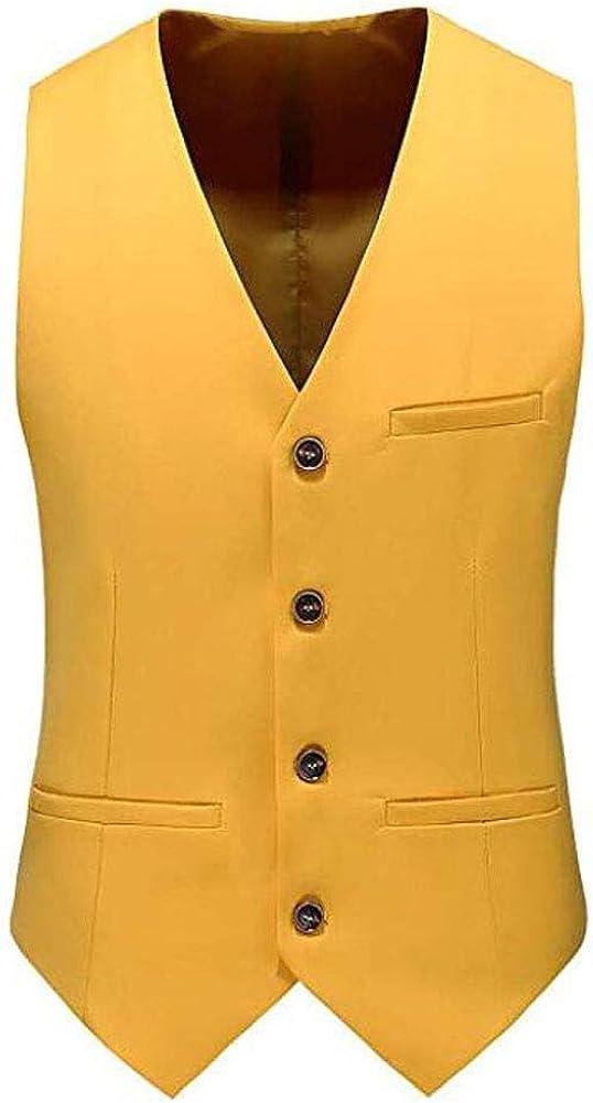 Men's Slim Fit V-Neck Vest Bottons Down Waistcoat 4 Buttons Wedding Party Casual Vest