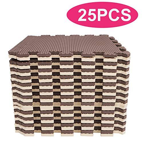 YOLEO Puzzlematte Kinderspielteppich Spielmatte Spielteppich Schaumstoffmatte Kinderteppich Schutzmatten Bodenschutzmatten Unterlegmatten Fitnessmatte 32x32 cm (Beige-Braun 25 Stücke)