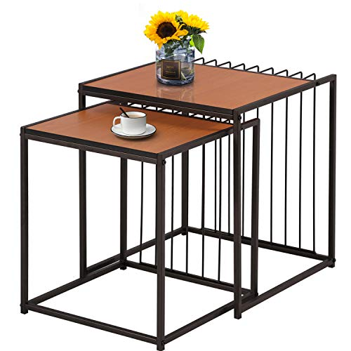 VECELO Nesting Table Set of 2 Stacking Coffee Side Snack Tables for Living Room Balcony Home and Office