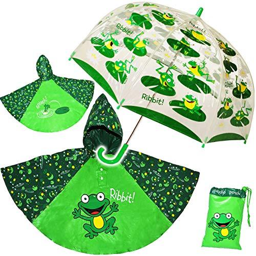 alles-meine.de GmbH 3 TLG. Set: Regenschirm + Regenponcho / Regencape - Frosch - Gr. 104 - 128 / 3 bis 6 Jahre - Kinderschirm transparent - Kinder Stockschirm Regenschirm - für J..