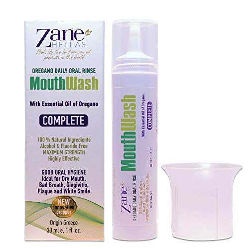 Zane Hellas Oregawash MouthWash. Enjuague bucal con aceite de orégano. Ideal para la gingivitis, la placa, la boca seca y el mal aliento. Libre de alcohol y flúor. Solución 100% Herbal. 1fl.oz - 30 ml