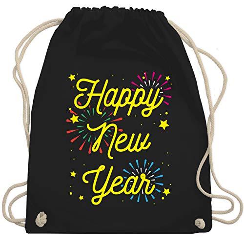 Weihnachten & Silvester - Happy new year - Feuerwerk - Unisize - Schwarz - silvester feuerwerk - WM110 - Turnbeutel und Stoffbeutel aus Baumwolle
