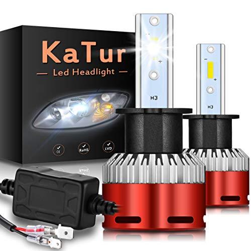 KaTur H3 Bombillas led Faros Chips CSP Mini Design Super Bright 12000LM Kit de conversión de Faros a Prueba de Agua 60W 6500K Xenon White-2 años de garantía