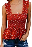 KAMISSY Women Smock Tank Top Chic Ruffle Hem Strap Vest Cami Top (Large, Floral-red)
