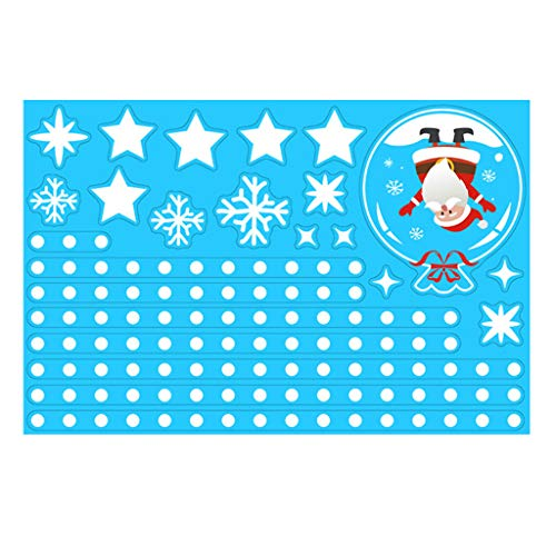 Shan-S Christmas Wall Stickers Double-Sided Static Window Glass Stickers Xmas Santa Claus Snowman Reindeer Elk Decor Holiday Party Home Office Wall Glass Party New Year Decorative Ornaments
