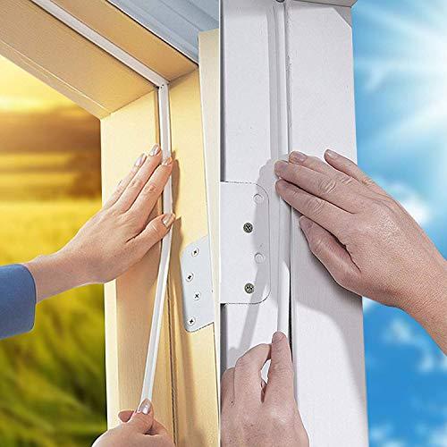 KELIIYO Door Weather Stripping, Window Seal Strip for Doors and Windows - Self-adhisive Foam Weather Strip Door Seal | Soundproof Seal Strip Insulation Gap Blocker Epdm D Type 66ft(20m) 2 Pack (White)