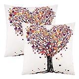 Lewondr Velvet Kissenbezug, 2er-Pack Soft Floral Tree Bunte Dekokissen Abdeckung Gedruckt...