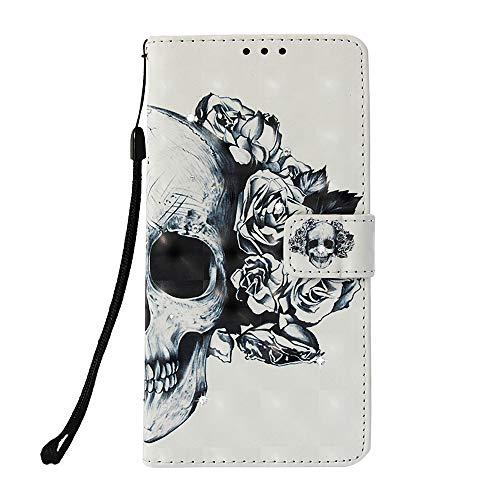 Unichthy Coque pour Samsung Galaxy A32 4G avec strass 3D - Résistante aux chocs - En cuir synthétique - Fermeture magnétique - Avec emplacements pour cartes - Motif tête de mort