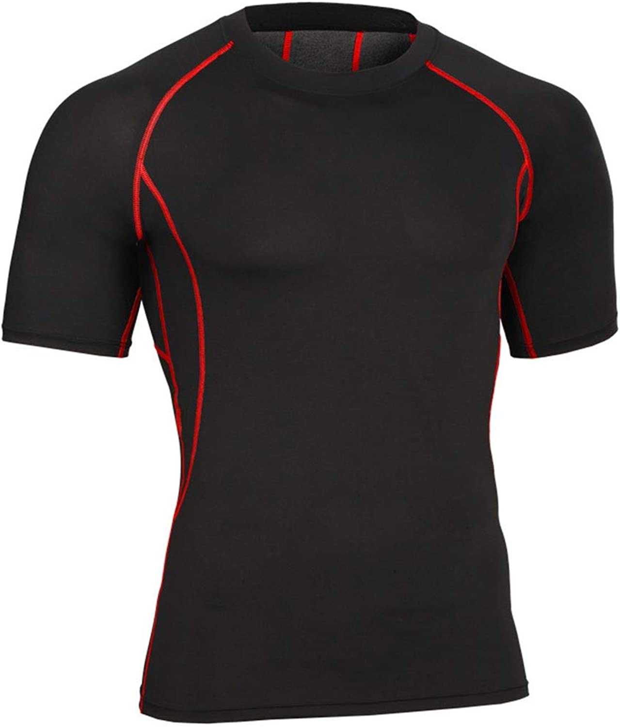 KERVINJESSIE Men's Workout Clothes Sportswear High High High Elasticity Short-Sleeved Sportswear Outdoor Quick-Drying Clothes (color   Black red line, Size   L) c608ea