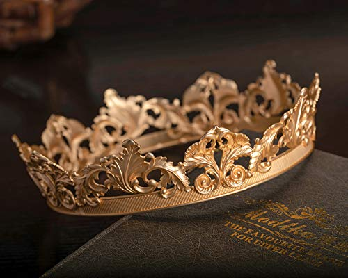 SWEETV Gold Queen Crown for Women, Royal Tiara Princess Headpiece, Metal Cake Topper, Costume Party Hat Accessories for Birthday, Prom, Halloween