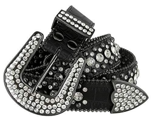 Women Rhinestone Belt Fashion Western Cowgirl Bling Studded Design Leather Belt 1-1/2'(38mm) wide (Black, 34'' M)