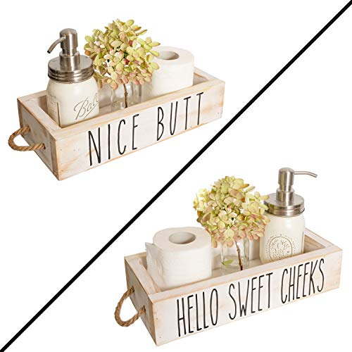 Nice Butt Bathroom Decor Box, 2 Sides with Funny Sayings - Funny Toilet Paper Holder Perfect for Farmhouse Bathroom Decor, Toilet Paper Storage, Rustic Bathroom Decor, Bathroom Signs (White)