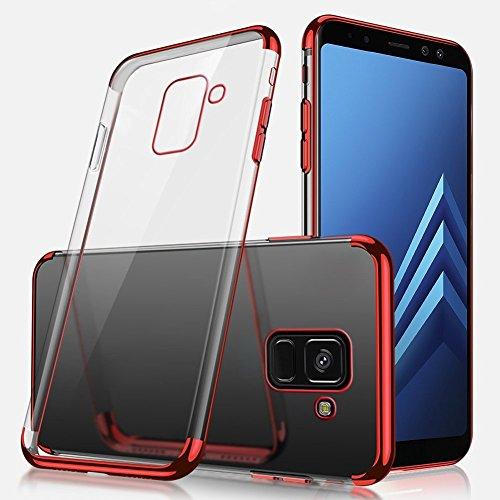 Herbests Coque Etui Housse pour Galaxy A5 2018 Coque Silicone Étui Housse avec Motif,Ultra Mince Crystal Clear Transparent Silicone Soft TPU Étui Coque