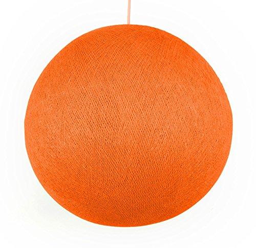 コットンボールランプシェード COTTON BALL LAMP SHADE コットンボールランプ カバー 全10色 イルミネーション インテリアライト カラフルボール 室内照明 間接照明 アジアン照明 タイ雑貨 アジアン雑貨 (L, オレンジ)