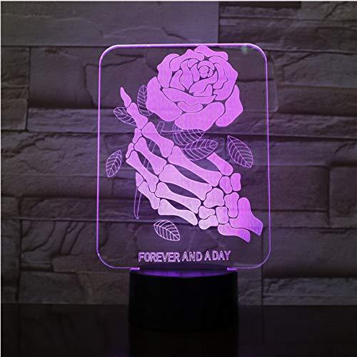 Calavera Dedos Luz de lámpara 3D en forma de rosa Luz de noche de estado de ánimo de USB USB Luz multitáctil táctil o de cambio remoto de color