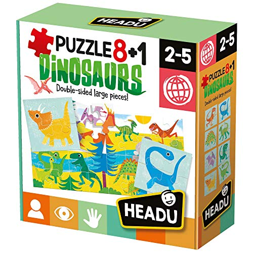 Headu- Dinosaurs Puzzle 8+1, Colore Multiplo, IT22243