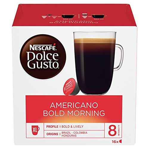 NESCAFÉ Dolce Gusto Americano Bold Morning Coffee Pods, 16 Capsules (48 Servings, Pack of 3, Total 48 Capsules)