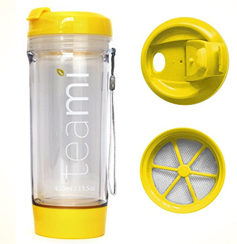 Teami Tea Tumbler Infuser Bottle - Yellow, 20 Ounce - BPA FREE - Double Walled Mug, Hot or Cold - Our Best Infusion Bottles for Infused Fruit, Smoothies, Tea, even Coffee