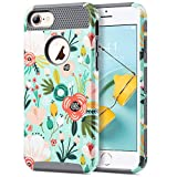 ULAK iPhone 7 Case Girls, Phone Case iPhone 7 Hybrid Dual Layer Scratch Resistant Hard Back Cover Shockproof TPU Bumper Protective Case Cover for Apple iPhone 7 4.7 inch (Mint Floral)