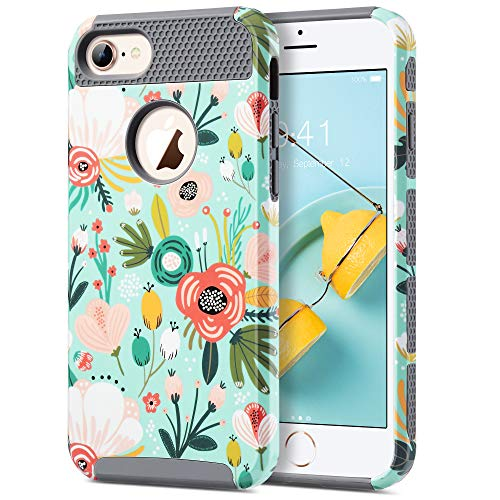ULAK iPhone 7 Hülle, [Bunte Serie] Dünn Glitzer Handyhülle Stylische Blumenmuster Schutzhülle Hybrid Hart PC + Weich TPU case Cover für Apple iPhone 7 - Mint Floral