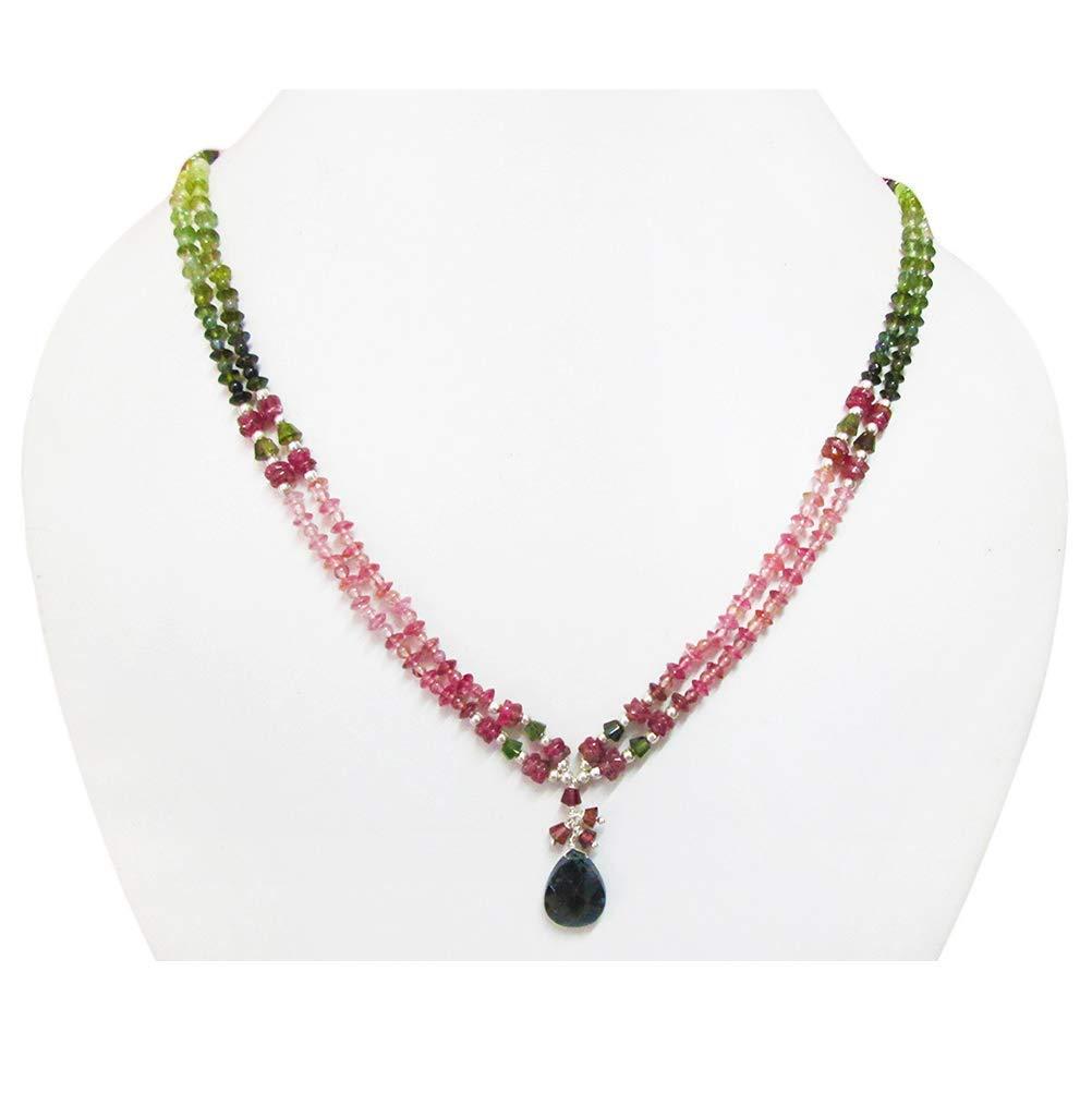 Amazon Com Watermelon Tourmaline Pendant Beads Necklace Sterling Silver Statement Layering Beaded Jewelry Handmade