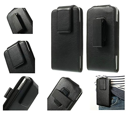 DFV mobile - Magnetic Leather Holster Case Belt Clip Rotary 360º for MYWIGO Magnum 2 Pro - Black