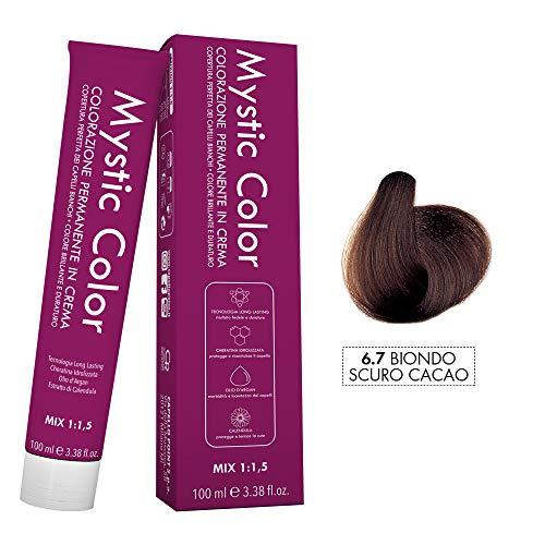 Mystic Color - Crème Colorante Permanente à l'Huile d'Argan et au Calendula - Coloration Longue Durée - Couleur Blond Cacao foncé 6.7 - 100ml