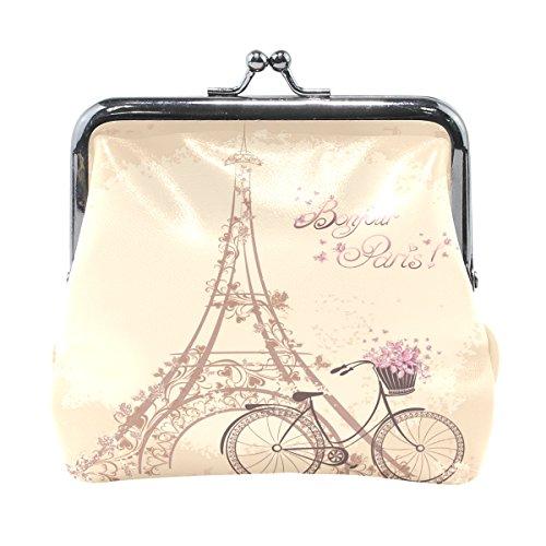 TIZORAX Bonjour Paris Tower Eiffel y bicicleta romántica monedero monedero monedero pequeño monedero monedero para mujeres y niñas