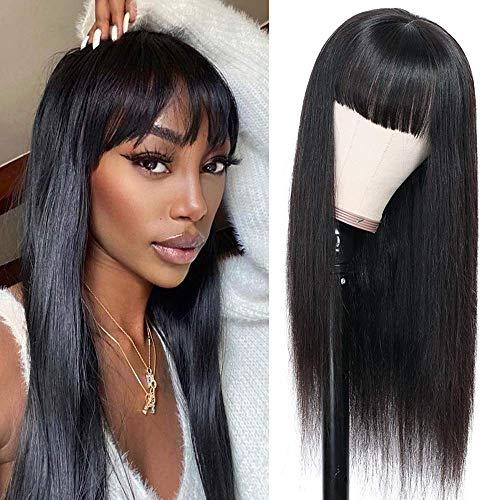 TOOCCI Straight Hair Perücken mit Pony Virgin Brazilian None Lace Front Wigs With bangs Echthaar Perücken Schwarz 130% Dichte Leimlose Maschinell Gefertigte Gerade Perücken für Damen(10 Inch)