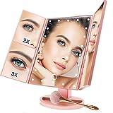 BUDDYGO Espejo Maquillaje con Luz LED, Espejos de Mesa USB Regulable, Espejo Cosmético con Espejo Aumento 1X, 2X, 3X, 180 ° de Rotación y Plegable, Espejo de Maquillaje con Regalar Brochas Maquillaje
