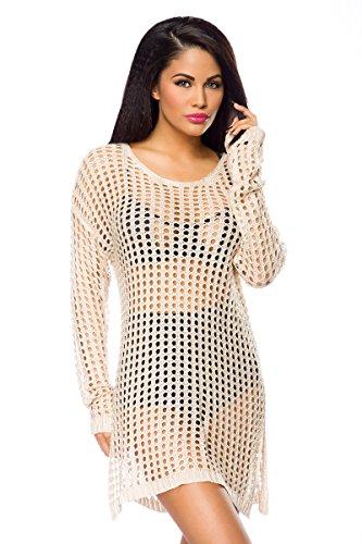 Weißes Strickkleid transparent Strandkleid mit Löcher langärmlig geschlitzt Damen Minikleid OneSize S/M