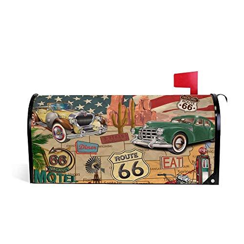 My Daily Cubierta magnética para buzón de correo Route 66 Vintage Map Decorativo MailWraps Buzón de correo Cubierta de gran tamaño 25,4 x 52,8 cm