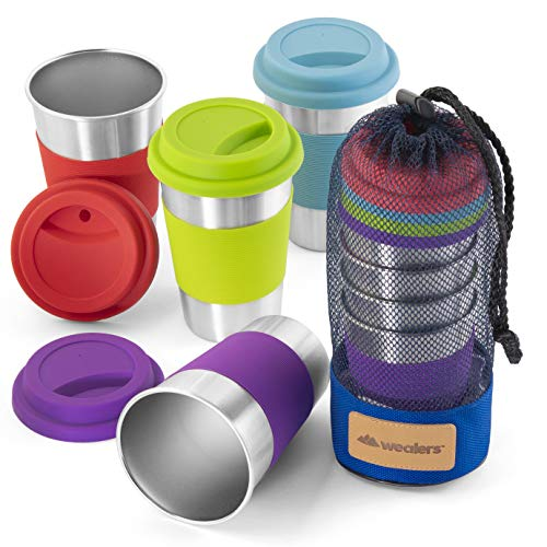 Stainless Steel Cup Tumbler Set Cold Drink Cups Good for Drinking Beer Water & Soft Drinks Comes with Blue Mesh Carry Bag for Camping Backpacking Picnic Outdoors (12oz)